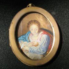 TABLEAU MINIATURE EPOQUE XIXè VIERGE A L'ENFANT XIXè 19th C HOLY MARY