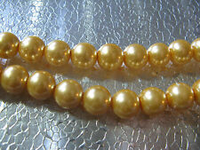 Glass Pearl Beads 10mm Champagne Cream Jewelry Beads 25 pcs Round Beads