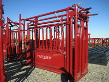 Unused Tarter Cattle Master Squeeze Chute, Automatic Head Gate, Drop Down Sides