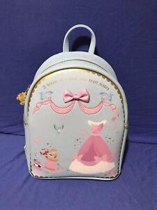 LOUNGEFLY Disney Mini Backpack Cinderella Pink Dress Bow Mice Gus Jaq Blue NWT