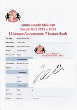 James McClean Sunderland 2011-2013 originale main signé Coupe/Carte
