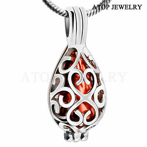 NEW Flower Urn Necklace for Ash Cremation Jewelry Keepsake Hollow Pendant