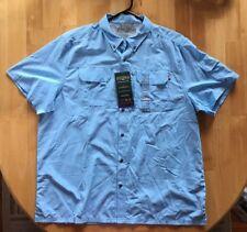 NWT Mens FIELD & STREAM Universal Travel Shirt UV Protection Blue  XXL 2XL $60