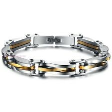 """Silver Gold 10mm Stainless Steel Men's Chain Link Bracelet Cuff Bangle 8.66"""""""