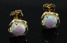 585 Gold Ohrstecker 1 Paar  Opal Gelbgold 7 mm Ohrringe