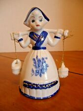 Blue & White Dutch Girl w/Vintage Bell Shape Dress & Water Buckets