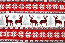 CHRISTMAS CHECKED DEER, GRAY SNOWFLAKES & TREES COTTON FLANNEL 2 YDS 42 X 72""