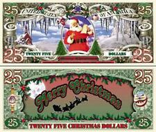 Santa Merry Christmas $25 Dollar Bill Collectible Fake Funny Money Novelty Note