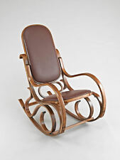 Bentwood Antique Style Rocking Chair Walnut Frame With Brown Leather CH043BR