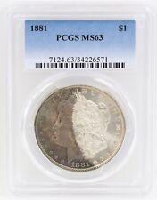 1881 Morgan Silver Dollar PCGS MS63 Half Moon Obverse Toned w/ Rainbow Color