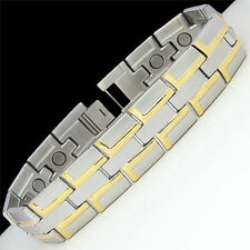 HIGH QUALITY! New Mens TWO TONE MagneticTITANIUM Bracelet-FREE SHIPPING from USA