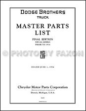 Dodge Truck Parts Book 1926 1929 1930 1931 1932 1933 Illustrated Catalog Pickup