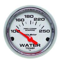 Auto Meter 2-1/16 Water Temp Gauge 100-250F P/C Marine
