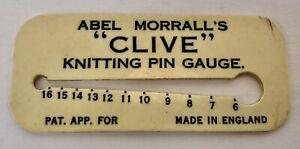 "Vintage Abel Morrall's ""Clive"" Knitting Pin (Needle) Gauge, English, Needlework"