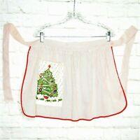 Vintage Christmas Apron Christmas Tree Pocket Red White Stripe Artistic Creation
