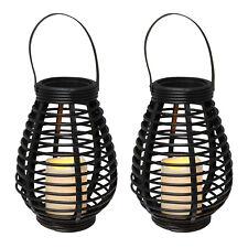 2er Set Rattan LED Gartenlaterne Windlicht Lampe Deko flackernde Kerze warmweiß