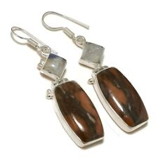 Red Mookaite Jasper, Rainbow Moonstone Gemstone silver plated Handmade Earrings