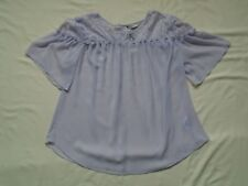 BNWT £14 Pale Lilac short bell sleeved sheer A-Line top with lace trims UK 14