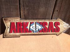 """Arkansas State Flag This Way To Arrow Sign Directional Novelty Metal 17"""" x 5"""""""