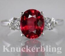 18 Carat Ruby White Gold Three-Stone Fine Rings