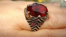 OUTSTANDING! Cut Ruby 925 Sterling Silver Solitaire Men's Heavy Ring Size 10.5