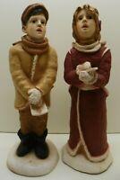 "Christmas Vintage Universal Stationary 13"" Resin caroling Couple Figurines"