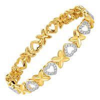 'XO' Link Bracelet with Diamond in Brass