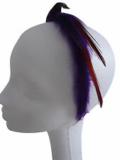 New Elegant Purple Speckled Feather Hairband Alice band Hand Made UK Free Post