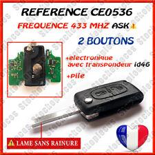 CLE VIERGE CE0536 + ÉLECTRONIQUE PEUGEOT 207 307 308 2 BOUTONS / ASK / SANS RAIN