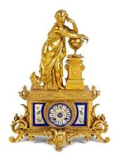 Antique Gilt Metal and Porcelain Inset Clock. Retailed by Tiffany & Co.