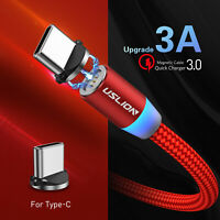 3A LED Magnetic Type C Fast Charging Sync Data Charger Cable Phone Lead Cord