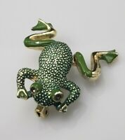 Vintage Green Enamel Frog Brooch Pin Articulated Moving Legs Leaping Gold Tone