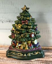 "Vintage Wright Studios Doorstop Painted Cast Iron Christmas Tree Toys 8"""