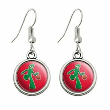 Novelty Dangling Drop Charm Earrings Sporty Gumby Basketball Player Clay Art