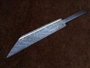 Custom Handmade Damascus Steel Seax knife Blank Blade Brass Inaly