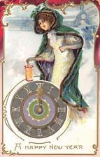 NEW YEAR HOLIDAY BEAUTIFUL WOMAN CLOCK STRIKING 12 TUCK EMBOSSED POSTCARD 1908