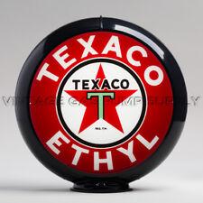 """Texaco Ethyl 13.5"""" Gas Pump Globe w/ Black Plastic Body (G194)"""