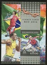 SOLOMON ISLANDS 2016 SUMMER GAMES RIO 2016 OLYMPICS  SOUVENIR SHEET  MINT NH