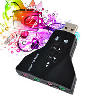 Virtual 7.1 CH Channel USB 2.0 3D Audio Sound Card Adapter Mic Speaker PC Tablet