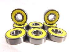 Yellow Color Abec7 (8 PACK) 8mm  SKATEBOARD BEARINGS Roller Skate Bearing