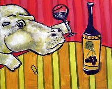 Hippopotamus hippo art Print poster gift Modern folk wine 11x14 Jschmetz