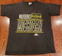 Vintage 90s University of Michigan Wolverines Tshirt Size L Apex One NCAA USA