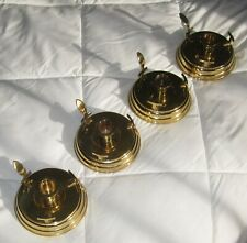 Set of 4=Solid Brass Candle Holders w/Handles