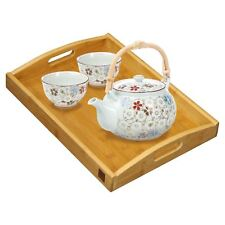 Bamboo Wooden Bed Breakfast Tea Serving Lap Tray With Handles New