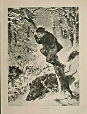 WILD BOARS ATTACK, A Critical Position, Winter, French 1882 Antique Art Print