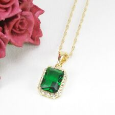 N1 18K Gold Filled Emerald Green Crystal Classic Necklace & Pendant in Gift Box