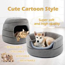 Medium Pet Dog Cat Cave Bed Washable 2 in 1 Warm Dog Kennel Cushion Sleeping Bag