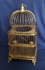 Vintage Ornate Footed Solid Brass Domed Heavy Bird Cage Swing Perched Bowls 21""