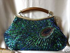 Vintage Look Green Pea Fully Hand Sewn Beaded Evening Purse Clutch Bag