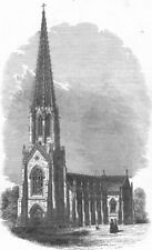 LANCS. Terra Cotta Church, near Bolton, antique print, 1845